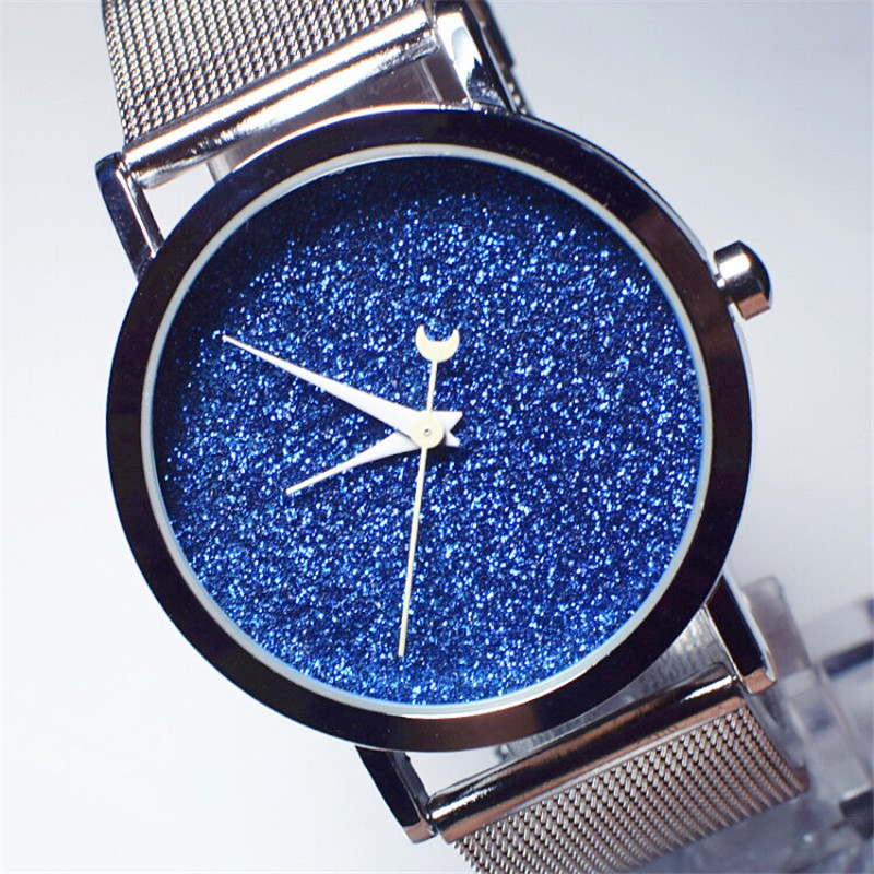 JIS new style creative watch night sky simple face steel band women quartz watch design starlight wristwatch Ladies gift ladies gift new style watch enmex creative design starlight in the night sky simple face steel band quartz fashion wristwatch