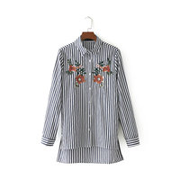 Women's Embroidery S Shirts Blouse business fashion Sleeve 2018 loose Shirts Ladies Cotton Tops Female Girls chic Blusa