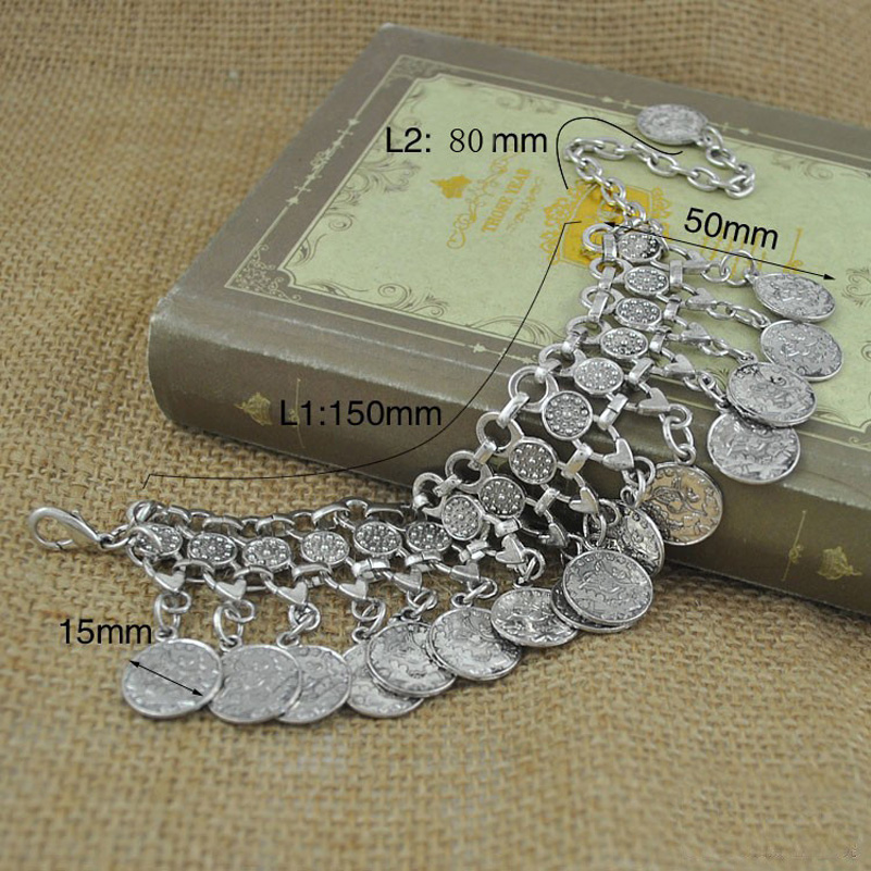 Punk Style Bohemian Turkish Silver Carved Coin Bracelet Antalya Lovers,Gypsy Beachy Chic! Festival,Silver Coin,Turkish