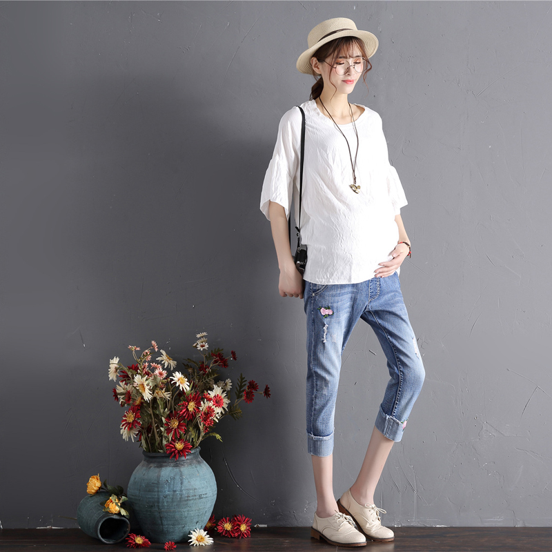 Maternity Denims Pregnant Jeans Skinny Pregnancy Pants Lovely Trousers For Pregnant Women Spring Summer Wear Plus Size L-5XL
