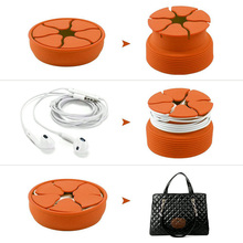 Portable Silicone Cable Organizer Winder For Earphone Digital Cables Colorful Round Mini Earbud Container Stretch Storage Box
