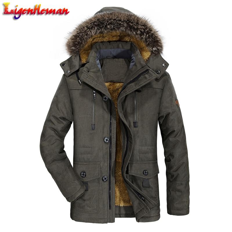 Fleece Long Male Jacket Windbreaker Winter Jacket Thick Warm Outwear Jackets Mens Fur Collar Windproof   Parkas   Plus Size 6XL