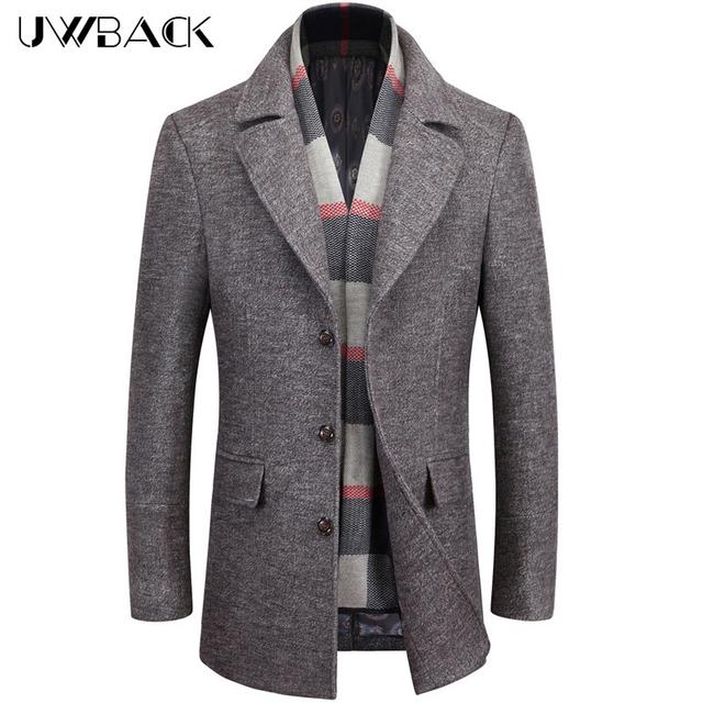 Uwback 2016 chegadas novas dos homens casaco de lã plus size 5xl formais Casacos De Lã De Inverno Trench Coat Grosso Forro de Lã dos homens Homens CAA350