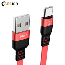 CASEIER Flat USB Cable For iPhone X 8 7 6s 6 Plus 5s 5 SE 1m 2.3A Date Fast Charging USB C Cables For Apple Charging Cable Cabo(China)