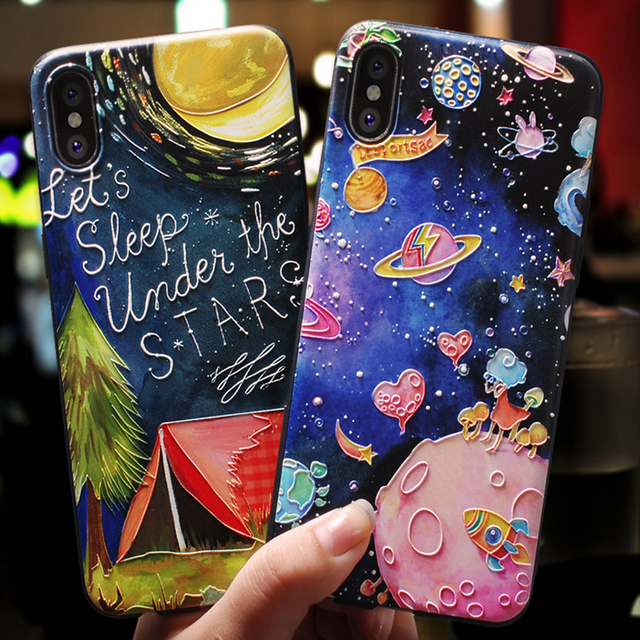 84d52d37bee 3D Relief Universe planet Cover For iPhone 5S SE 6 S 7 8 XS Max X XR ...