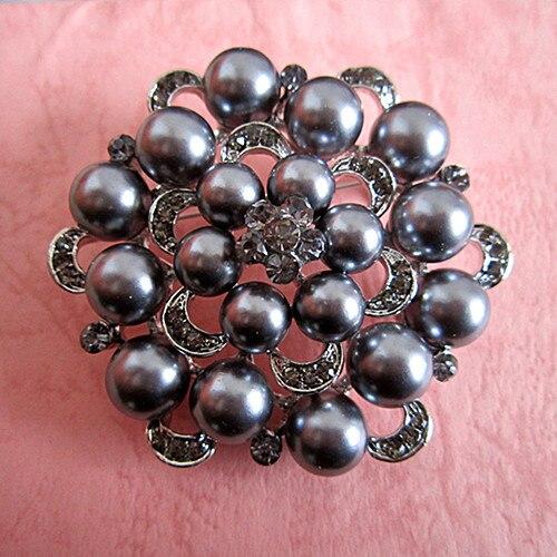 Серебряный тон искусственный жемчуг и горный хрусталь с бриллиантами, кристалами для свадьбы брошь с букетом - Окраска металла: Silver Grey