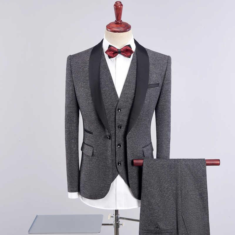 Plyesxale 3ピースフロントパンツウェディングスーツブルゴーニュカーキブルーグレーアーミーグリーン紫スーツスリムフィットショール襟ウエディングスーツq504