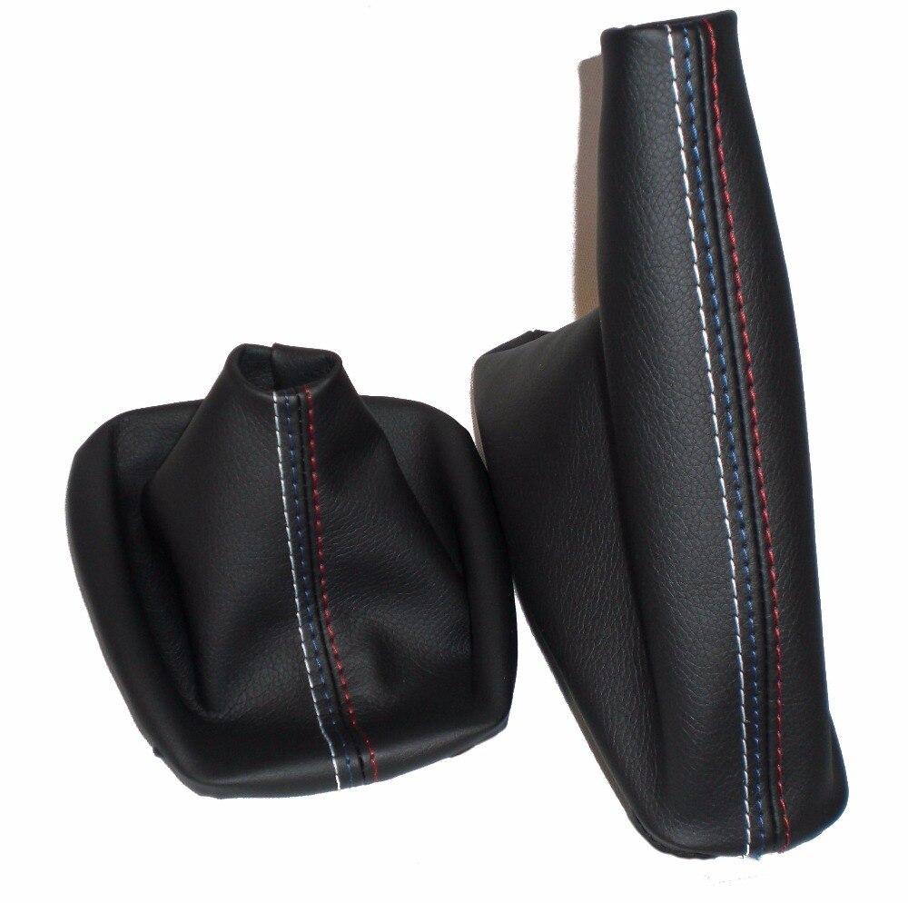 O envio gratuito de carro mudança engrenagem vara manual freio de mão gaiter shift bota couro preto para bmw série 3 e36 e46 m3 estilo do carro