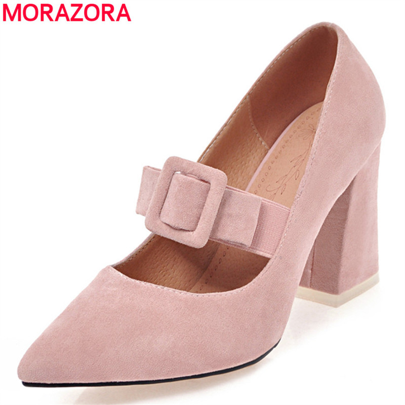 MORAZORA New flock square high heels wedding shoes woman fashion elegant work shoes pointed toe women pumps solid big size 34-46 bowknot pointed toe women pumps flock leather woman thin high heels wedding shoes 2017 new fashion shoes plus size 41 42