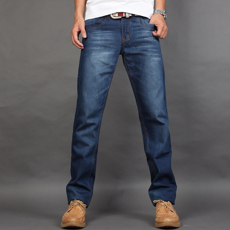 2018 Spring Summer Autumn Men's Classic Jeans Male Casual Denim Straight Pants Adult Full Length Trousers Plus Size 28-38