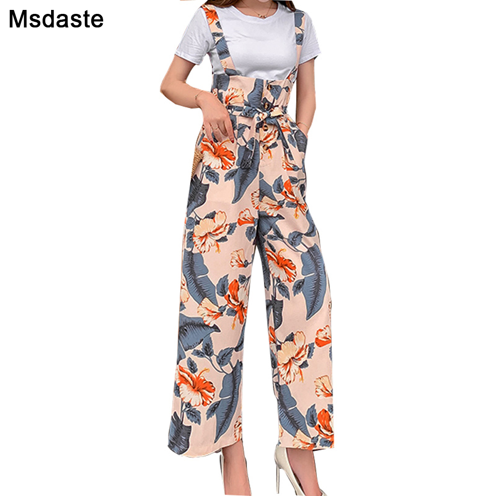 Wide     Leg     Pants   Women 2019 Autumn Floral Ladies Trousers Pantalon Femme Loose Ankle-length Woman Flower Chiffon Flare Trousers