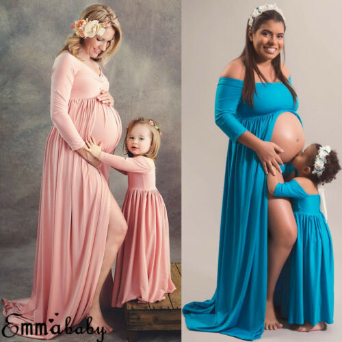 Maternity Photography Prop Pregnant Women Maxi Long Dress Mom and daughter dress Gown Maternity Mother Kids Matching