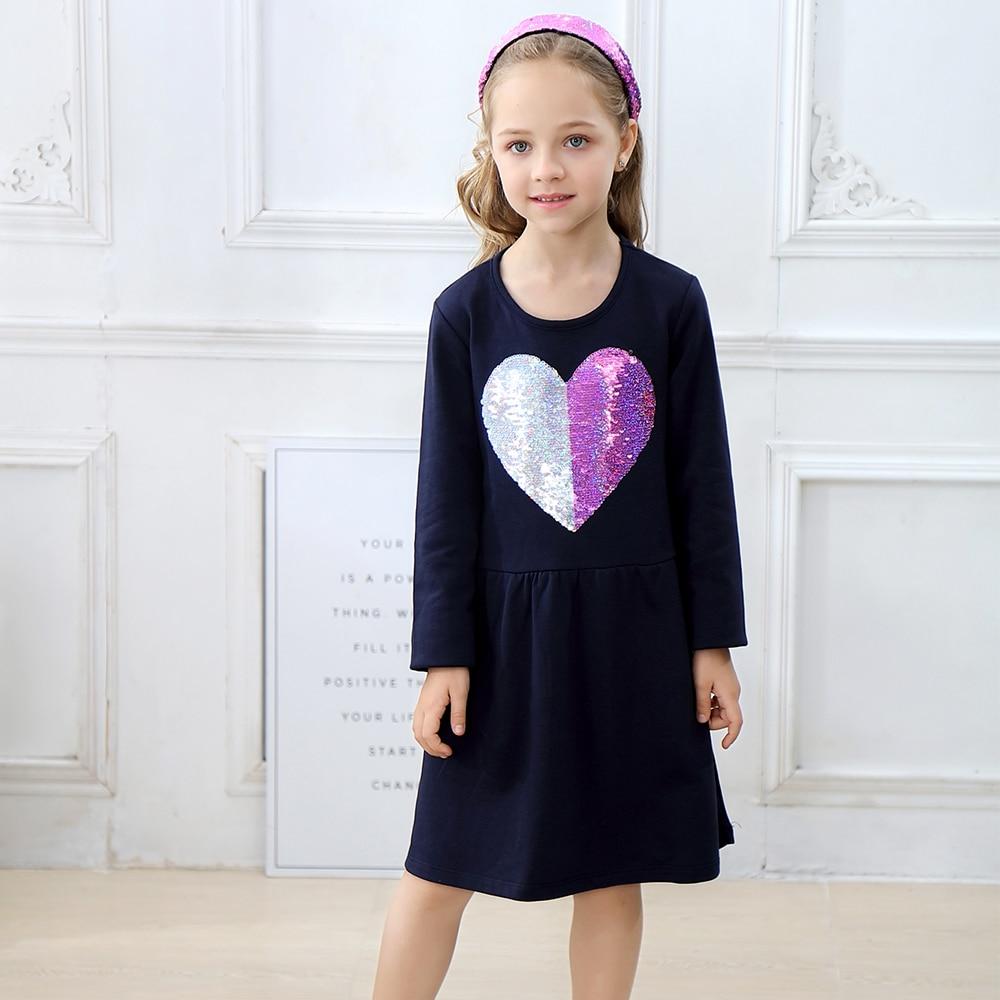 644eb755ff57e Jumping Meters Girls Dress Loving Heart Sequins Kids Dresses for Girls  Costume Princess Cotton Dress Baby Girl Clothes Vestidos