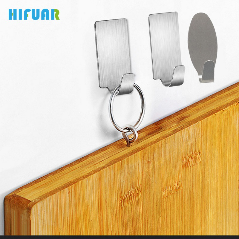 Hifuar 6PCs Adhesive Stainless Steel Hooks Kitchen Wall Door Holder Hanger For Cooking Tools High Quality Kitchen Accessories