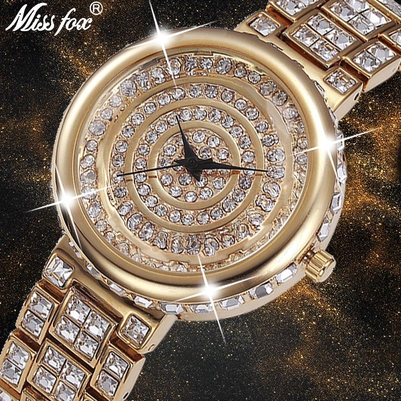 MISSFOX Super brillant montre à Quartz femmes ronde plaqué or noir analogique chine montres strass Ouro antichoc étanche montre