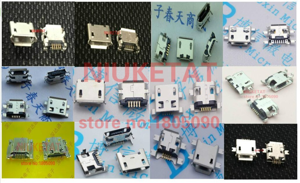 120pcs 10pcs Each For 12 Kind Micro USB 5Pin Jack Tail Socket Micro Usb Connector Port Sockect For Samsung Lenovo Huawei ZTE HTC