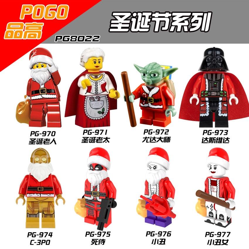 Christmas Series Santa Claus Darth Vader Deadpool Jack Napier Minifigured Building Blocks Figure Bricks Compatible With Bela
