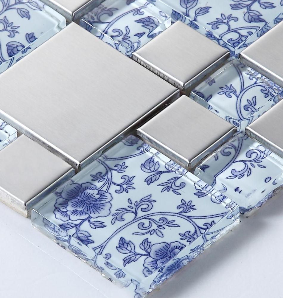 drawing art blue glass mosaic mixed metal mosaic tiles for kitchen ...
