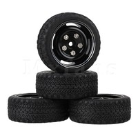 Alloy Wheel Rims And Rubber Tyre Black For RC 1 10 On Road Racing Car Set