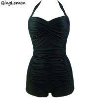 Newest Swimwear Women One Piece Halter Monokini Padded Bra Boxer Swimsuit Solid Beachwear Plus Size Sportswear