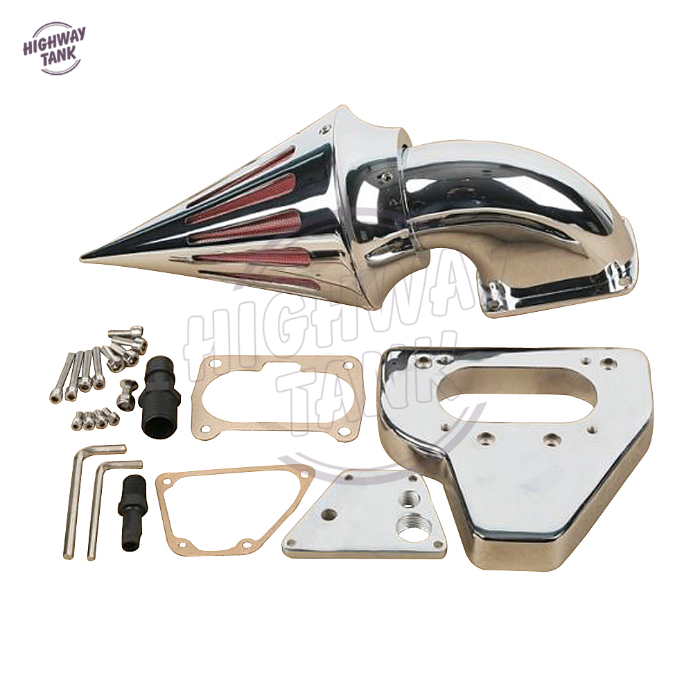 Chrome Aluminum Motorcycle Spike Air Cleaner Kits Intake Filter case for Honda VTX 1800 2002 2003 2004 2005 2006 2007 2008 2009 new motorcycle radiator cooler aluminum motorbike radiator for honda cb400 v tec 99 2000 2001 2002 2003 2004 2005 2006 2007 2008