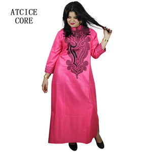 Image 2 - 스카프와 아프리카 부드러운 소재 디자인 드레스 자수 디자인 긴 드레스
