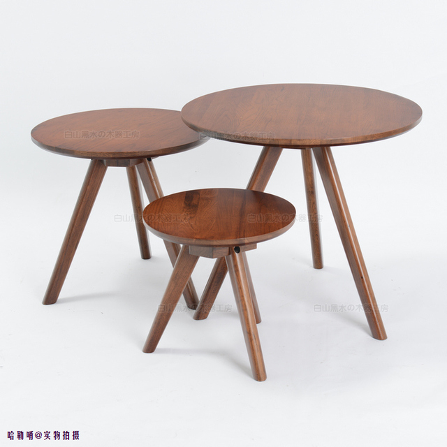 Trio Round Coffee Table Modern Small Apartment Simple And Stylish Oak Wood