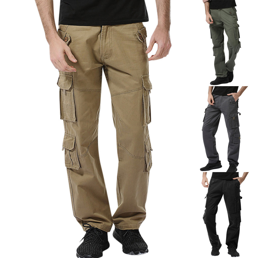 2019 Men's Casual Solid Color Outdoor Pocket Sports Overalls Beach Work Pants Cargo Pants 7.12