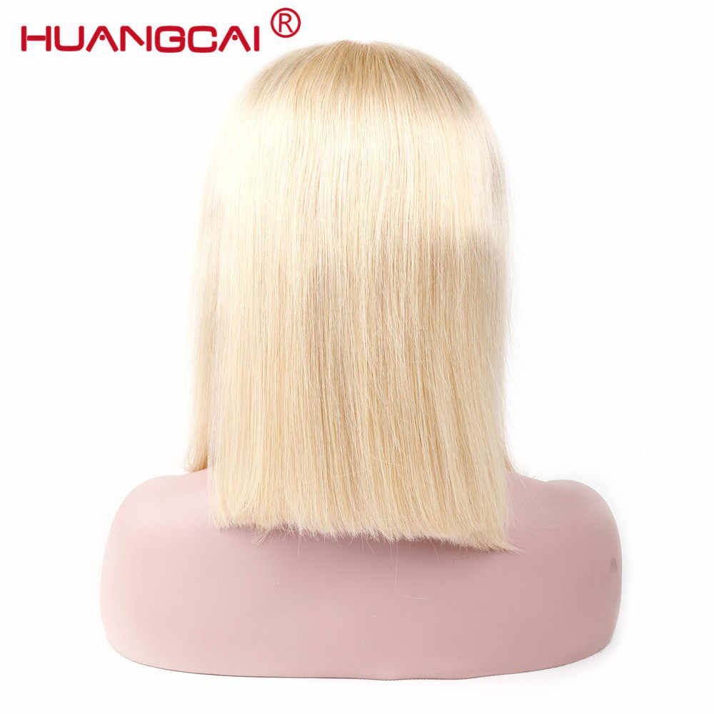613 blond peruwiańskie proste włosy koronki przodu włosów ludzkich peruk Pre oskubane z dzieckiem włosy peruki z krótkim bobem Huangcai włosy inne niż remy