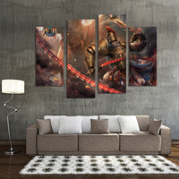 FOUR PC NO FRAME Golden Warrior Oil Painting Printed Oil Painting On Canvas Oil Painting Home