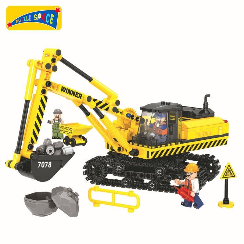 Toys & Hobbies City Engineering Vehicle Bricks Model Mini Agitating Lorry Truck Excavator Bulldozer Building Block Educational Toys For Boys