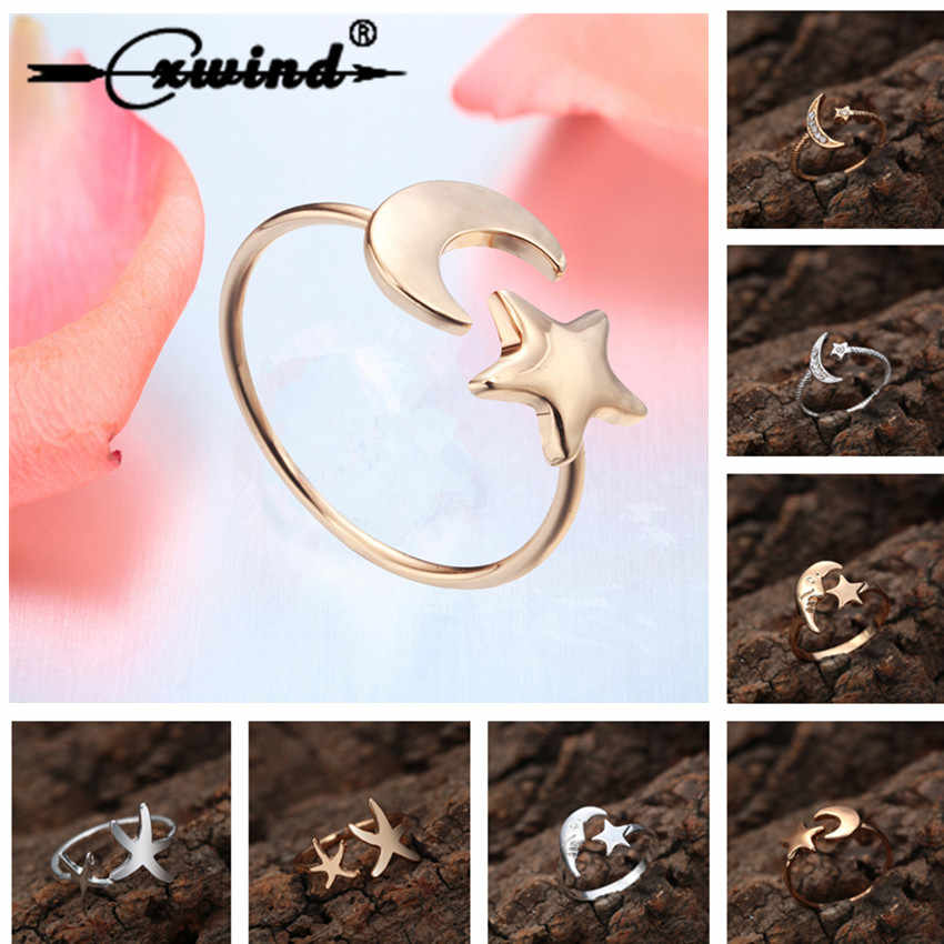 Cxwind New Crescent Moon & Star Ring with Pave Zircon Crystals Ring Women Fashion Casual Open Rings Jewelry bague femme