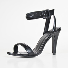 Black Soft Leather Open Toe One Strap High Heels Made-to-order Plus Size Shoes Women Open Heel Ladies Pump Summer Style Shoe