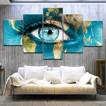 5 Panel/pieces HD Print A Blue eyes in map colored drawing Print On Canvas Art Painting For home living room decoration цена в Москве и Питере
