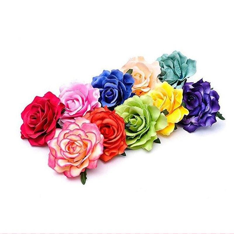 2018 New Artificial Rose Flower Hairpins Hair Clips Women Girls Floral Brooch Pin Wedding Beach Party Favors