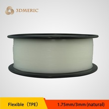Natural color flexible strong Elastic TPE  3D 1.75  printing filament for industrial / desk printer free shipment