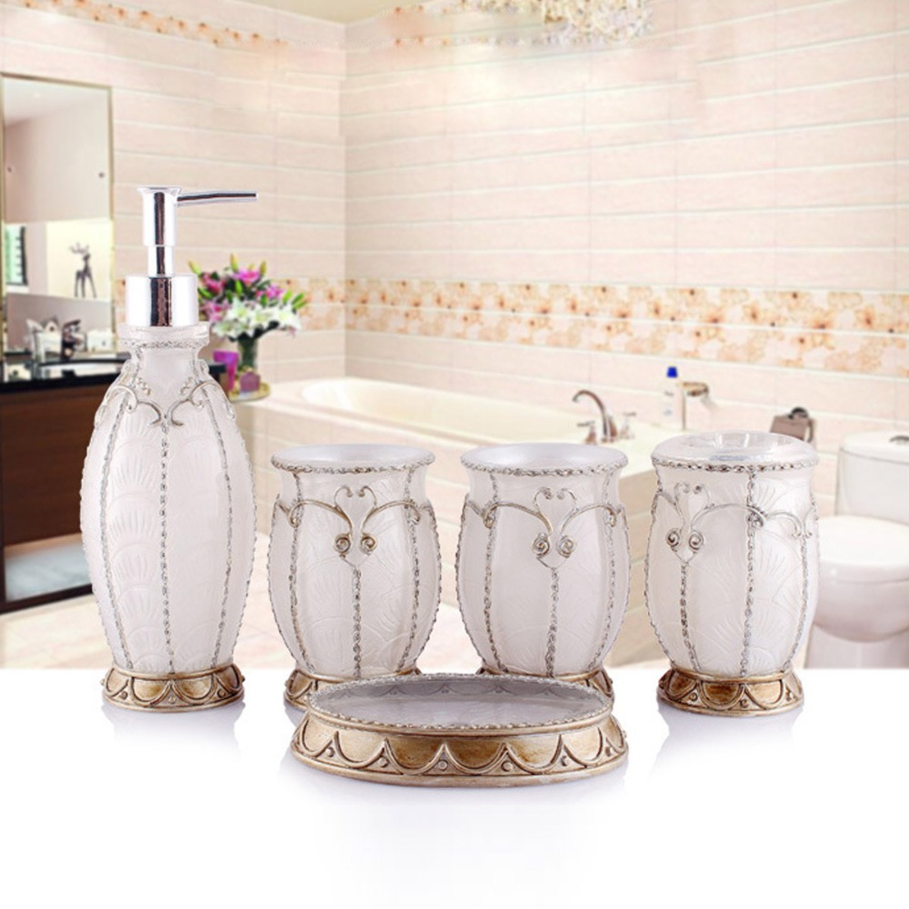 Hand crafted pearl white set of 5 pc resin bath vintage for Vintage bathroom accessories