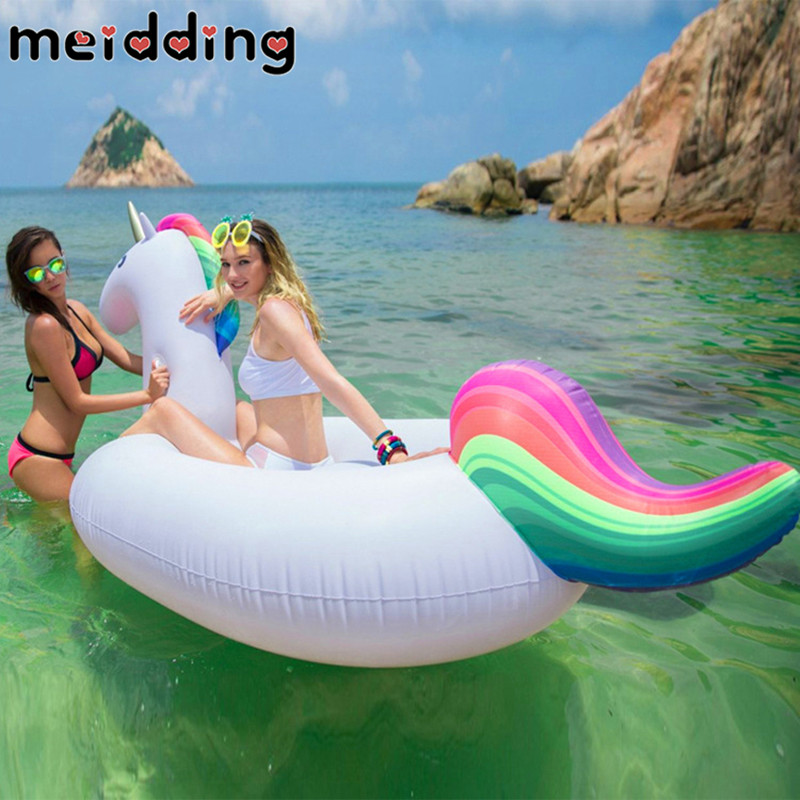 MEIDDING 1Pcs Gaint Unicorn Float Boat Inflatable Swimming Pool Boat Durable Hawaii Beach Party Decoration Kids Birthday Gifts