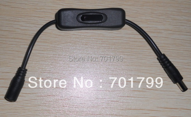 DC switch for single color strip, max 12V/3A load,5.5mm/2.1mm,10cm long cable;in black color
