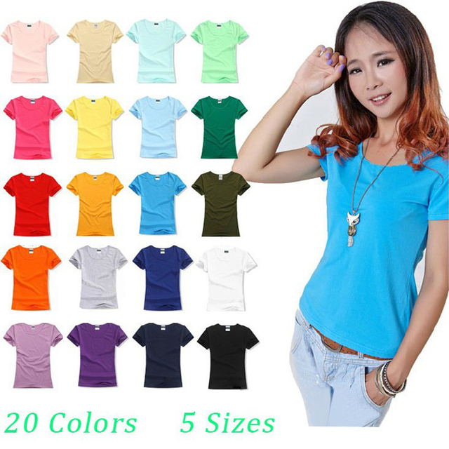 bdbf46cd58 Brand New fashion women t-shirt brand tee tops Short Sleeve Cotton tops for  women clothing solid O-neck t shirt ,Free shipping