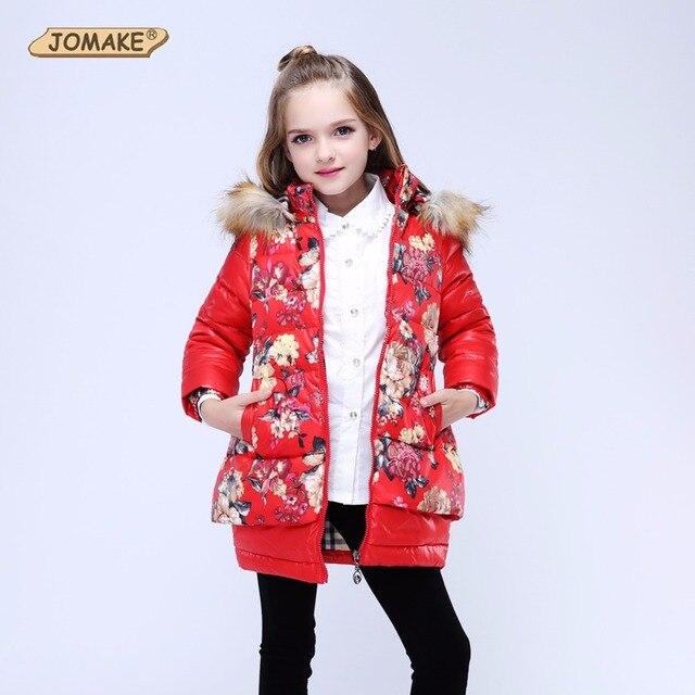 Зимняя куртка для девочек детей Пуховое пальто для девочки Мужские парки с цветочным принтом с капюшоном меховой воротник Детские пуховики для Обувь для девочек верхняя одежда Пальто и пуховики