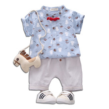 Boy Suit, Summer Suit, 2019 New Kids Short-sleeved Baby Cartoon Shirt, Two-piece Suit, 1-3-4 Years Old стоимость