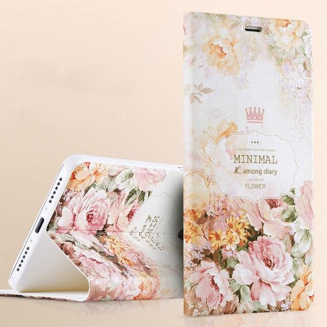 3d em relevo case para xiaomi redmi note 4 flor floral luxo elegante capa de couro da aleta para xiaomi redmi note 4
