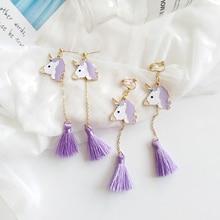 Enamel Unicorn Stud Earrings with Tassel