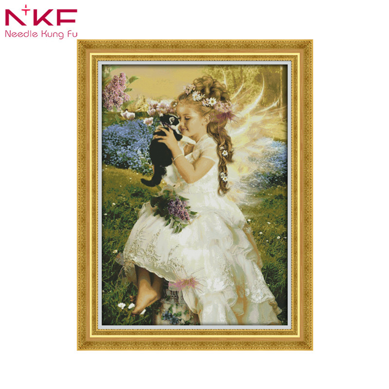 The Girl Holding The Cat Cotton Canvas Cross Stitch Pattern Print Counting Patterns Dmc Embroidery Kits Everything For Weaving