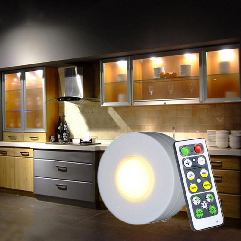 Battery With Remote Night Light White/warm White Dimmable LED Puck Light Closet Showcase Drawer Indoor Lamp For Bedroom Lighting
