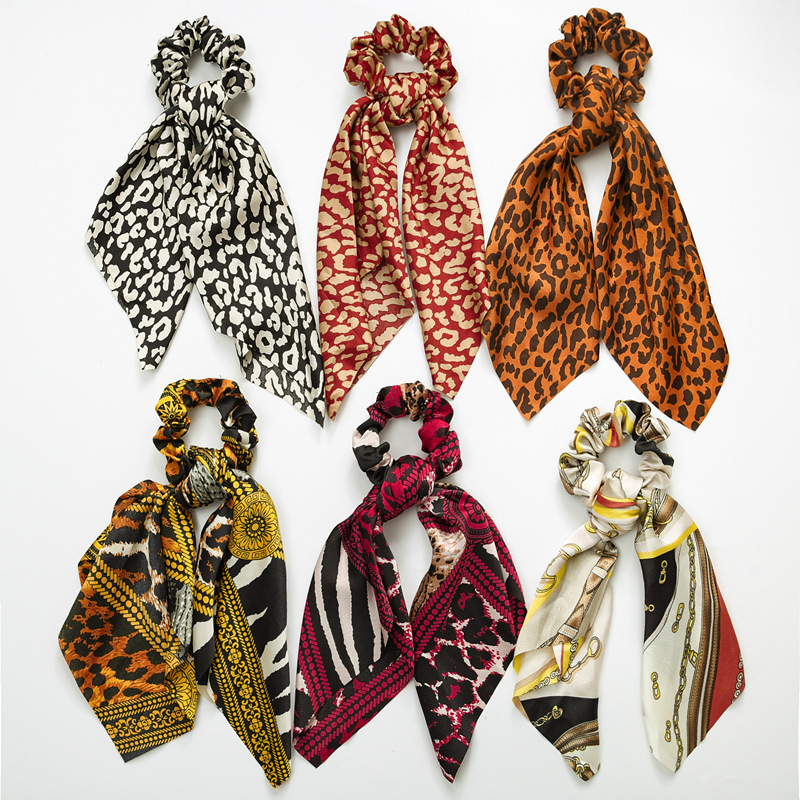 Vintage scarf, bowknot Women Hair Ponytail Holder, Rubber Serpentine Summer headbands Elastic Hair ties for Girls