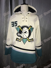 25c29f847 #35 Jean-Sebastien Giguere Mighty Ducks Hoodies Mens Cream Throwback Hooded  Sweatershirts All Stitched