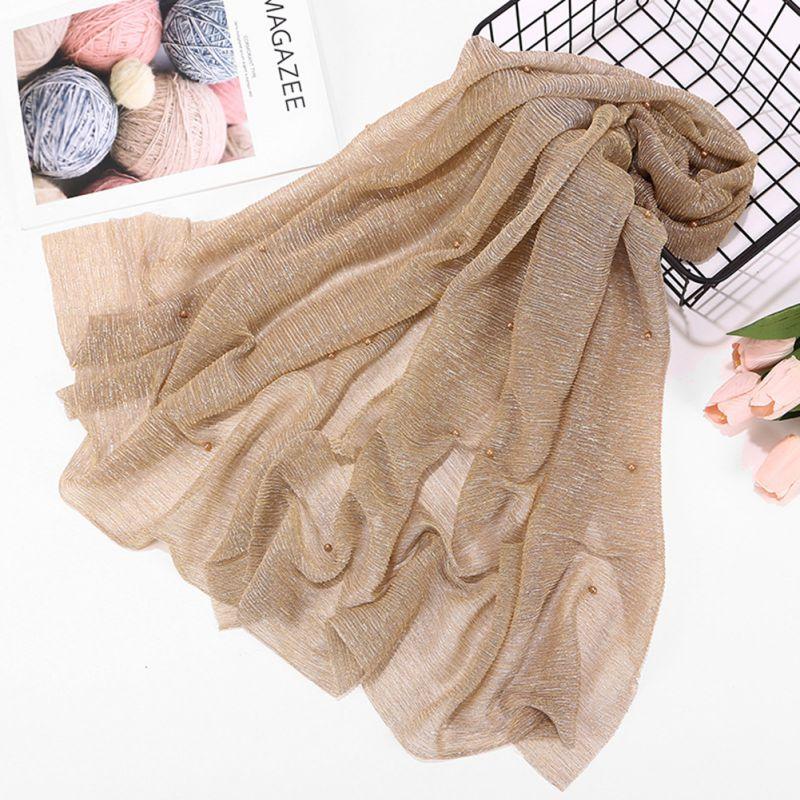 Woman Shawl Wrap Hijab Scarf Wrinkle Head Scarf Shiny Sparkling  Elastic Gold Silk Yarn Pearls Wedding Party Muslim HijabsIslamic  Clothing