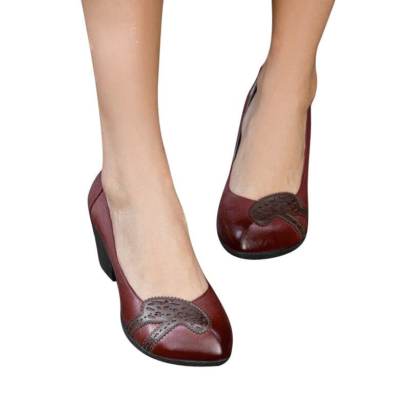 2019 En Talons À Pour Bout Véritable Pointu Xiangban Printemps Femmes Cuir Chaussures Été Pompes qgHEwP